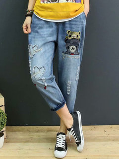Patch Cartoon Elastic Waist Harem Denim Pantaloni
