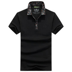 Mens Summer Solid Color Printed Collar Short Sleeve Casual Cotton Polo Shirt