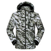 Mens Camo Outdoor Soft Shell Water-repellent Windproof Quick Dry Fleece Lining Hooded Hiking Jacket