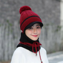 Women Winter Thick Knitted Beanie Cap Scarf Set Outdoor Windproof Plus Plush Ear Warm Collar Hat