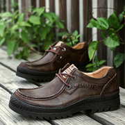 Men Genuine Cow Leather Outdoor Wearable Lace Up Casual Shoes
