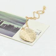 العصرية أوراق الذهب قلادة القلائد البوهيمي الكبير ليف دقيق المرأة القلائد الطويلة