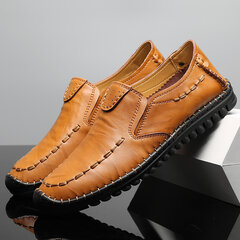 Men Hand Stitching Leather Anti-collision Non-slip Casual Driving Shoes
