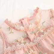 Floral Embroidery Toddler Girls Sleeveless Lace Princess Dress For 1Y-7Y