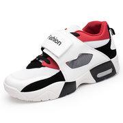 Men Hook Loop Mesh Splicing Breathable Basketball Sneakers Casual Shoes