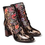 SOCOFY Comfy Bohemia Couro Genuíno Metal Textura Flor Padrão Rebite Zipper Ankle Boots de Salto Alto