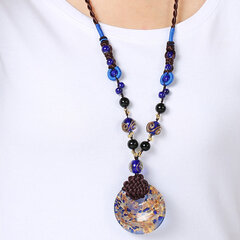 Luxury Agate Jade Bead Colored Glaze Pendant Necklace Vintage Long Necklaces Women Accessories