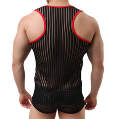 Mens Sexy Fitness Visible Stripes Printing Crew Neck Sleeveless Sport Tank Tops