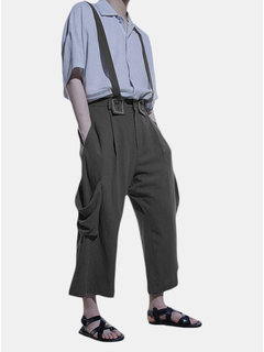 Fashion Vintage Loose Overalls Solid Color Wide Leg Casual Pants for Men