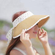 Female Summer Stripe Spots Bowknot Adjustable Without The Top Fashion Sunshade Hat.