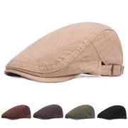 Mens Vintage Washed Rhombus Cotton Beret Hat Casual Adjustable Breathable Newsboy Cabbie Cap