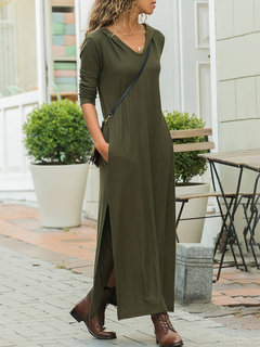 Side Splited Hooded Solid Color Long Sleeve Casual Maxi Dress