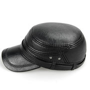 Mens PU Leather Warm With Earflaps Flat Top Caps Casual Windproof Military Army Plain Hat