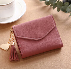 Tassel Candy Color Small Short Wallet Purse Card Holder For Women