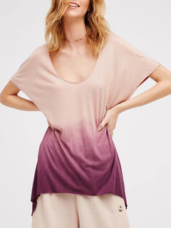 Ombre Short Sleeve Basic Crew Neck Casual T-Shirt