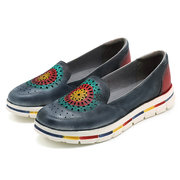 SOCOFY Casual Leather Handmade Hollow Out Soft Slip On Flat Shoes