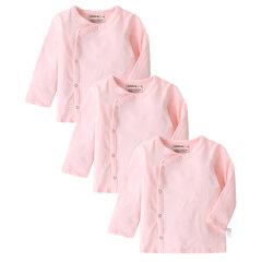 3 шт. Хлопок новорожденных девочек с боковыми кнопками Рубашка для 3-18 м