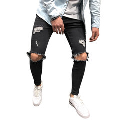 Jeans Hip-Hop Genou Big Hole Skinny Fashion pour hommes