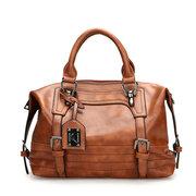 Mulheres Retro Oil Wax Faux Couro Tote Bag Crossbody Bag
