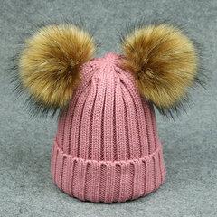 طفل الشتاء قبعات القبعات رشاقته محبوك قبعات للأطفال مع اثنين الكرة الفراء pompom ل 1Y-6Y