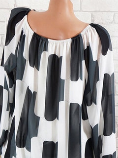 Sexy Printed Off Shoulder Long Sleeve Shirts