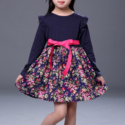 Flower Girls Dresses Long Sleeve Ruffles Patchwork Dress For 2Y-9Y