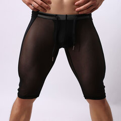 Men Super Thin Drawstring Mesh Breathable Control Legging Sport Shorts