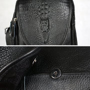 Crocodile Pattern Genuine Leather Crossbody Bag Shoulder Bag Chest Bag For Men