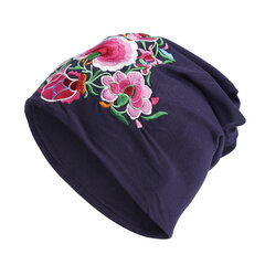 Women Cotton Breathable Embroidery Beanie Hat