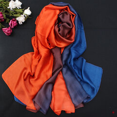 Women Soft Comfortable Satin Silk Gradient Colors Scarf Travel Beach Sunshade Shawl Wrap