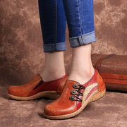 SOCOFY Retro Pattern Genuine Leather Splicing Stitching Comfortable Slip On Buckle Flat Shoes
