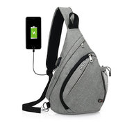 Multi Pocket Dacron Chest Bag Casual USB Socket Crossbody Bag Sling Bag For Women Men
