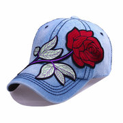 Mujeres Denim Blue Rose Gorra De Béisbol Sombreros Casuales Sombrilla Ajustable