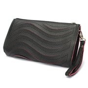 Women Wavy Zipper Wrist Shoulder Clutch Bag Wallet