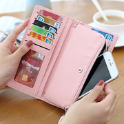 Stylish PU Leather 12 Card Slots Candy Color Long Wallet Purse For Women