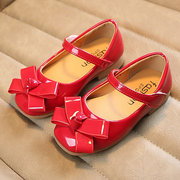 Girls Bowknot Decor Solid Color Elegant Mary Jane Shoes For Kids