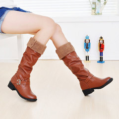 Large Size Warm Square Heel Buckle Knee High Boots