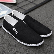 Men Hand Stitching Woven Style Canvas Breathable Casual Loafers