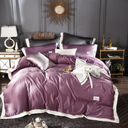 4Pcs Luxury Solid Color Washed Silk Bedding Set Soft-smooth Touching Fabric Duvet Cover Sheet King