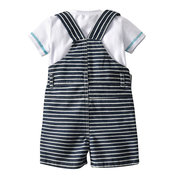 3Pcs Stripe Casual Outfits Sets Top + Suspender Pants + Hat For 0-24M