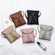 Mini Borlas Telefone Sacos De Couro Sólidos Crossbody Sacos Para As Mulheres