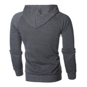 Men's Casual Sport Tilted Zipper Up Safe Zipper Pockets Drawstring Hooded Sweatshirt