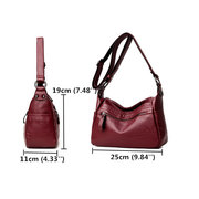 Women Soft Leather Solid Crossbody Bag Stitching Leisure Shoulder Bag