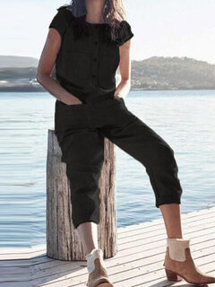 Casual Solid Color Short Sleeve Pockets Overalls Jumpsuit
