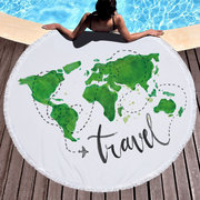 World Map Printed Large Round Beach Towel Yoga Mat Microfiber With Tassels Thick Terry Beach Towels