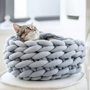 7 Colors Knitting Soft Pet Deep Round Bed Kennel Dog Cat Warm Knit Kennel