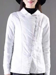 Solid Color Cotton-padded Long Sleeve Women Blouse