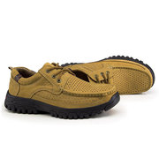 Men Cow Leather Breathable Holes Lace Up Casual Shoes