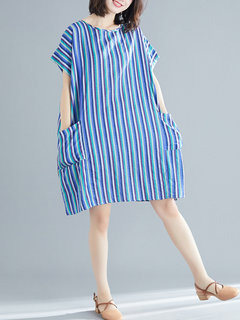 Casual Striped Short Sleeve Pockets Dress for Women