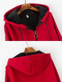 Abrigo con capucha de color sólido con cordón ajustable para mujeres